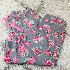 Gray Pink Floral Cacique Pajama Pants size 18/20